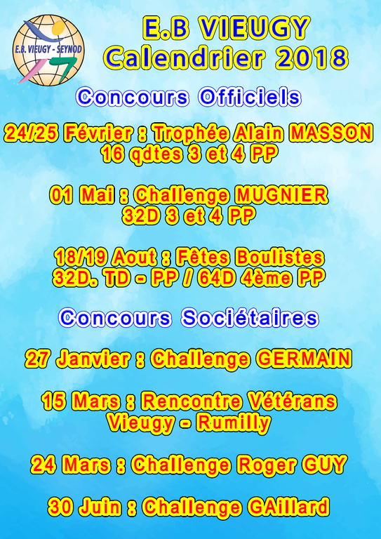 Calendrier Des Concours 2018 Esperance Boule De Vieugy Seynod